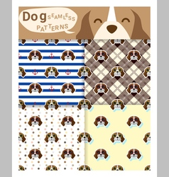 Set of animal seamless patterns with beagle dog 1 vector