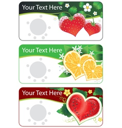 Set of banners with fruits hearts vector