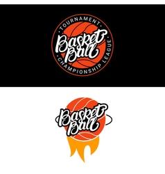 Set of Basketball hand written lettering logo vector image