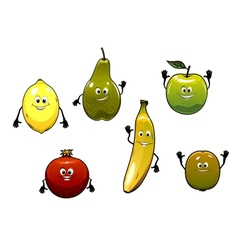 Set of happy fresh cartoon fruits vector