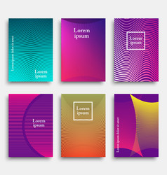 set of trendy cover design with geometric line vector image