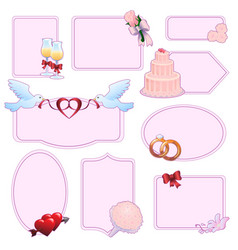 set of wedding stickers vector image