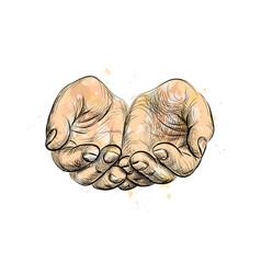 Sketch begging hands vector