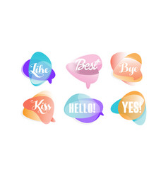 speech bubbles with dialog words like best vector image
