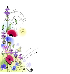 Spring floral background with butterfly vector image