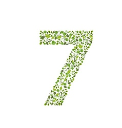 Spring green leaves eco number 7 vector