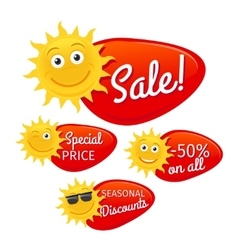 Summer sale labels with smiling sun vector
