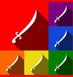 sword sign set of icons with vector image