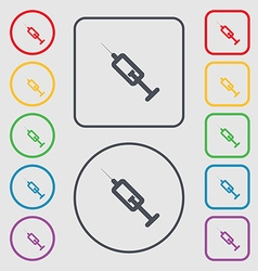 syringe icon sign symbol on the Round and square vector image