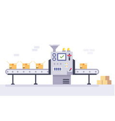 Technology and packing concept in flat style vector