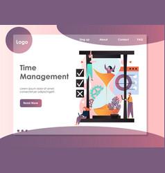 time management website landing page design vector image