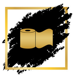 Toilet paper sign golden icon at black vector
