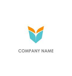 V initial open book logo vector
