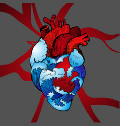 Valentines day anatomical heart with blue waves vector