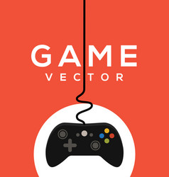 Video game logo poster control joystick vector