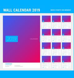 Wall calendar planner template for 2019 year set vector