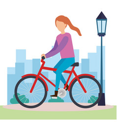 young woman on bicycle character vector image