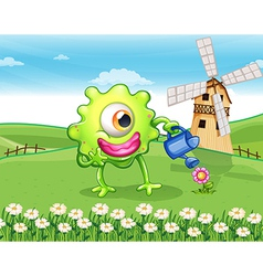 A one-eyed monster watering the plant at the vector image vector image