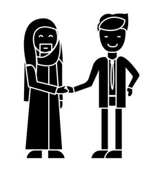 arab business partnership businessmen handshak vector image