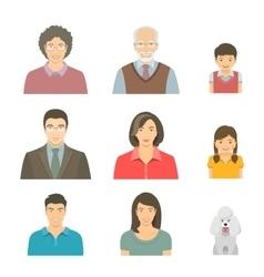 Asian family faces flat avatars set vector image