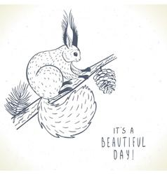 cute squirrel silhouette vector image