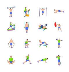 gym icons set cartoon vector image vector image