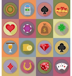 casino flat icons 20 vector image vector image