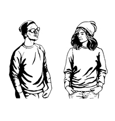 cute of young people in vector image