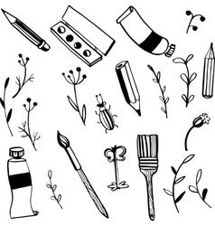 doodle art materials vector image vector image