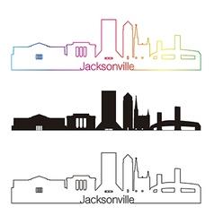 Jacksonville skyline linear style with rainbow vector image