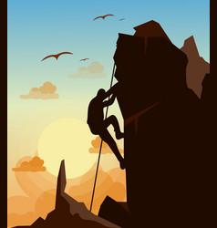mountain climbing man on vector image