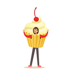 smiling man wearing cupcake costume puppets food vector image vector image