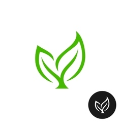 Two green leaves with a branch icon vector image