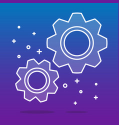 White transparent cogwheels or gears on blue vector