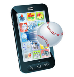 baseball ball flying out of mobile phone vector image vector image