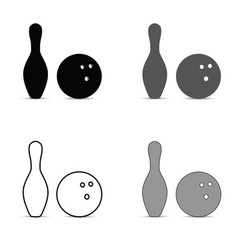 Bowling pin and ball silhouette set vector
