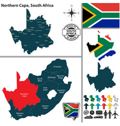 map of northern cape south africa vector image vector image