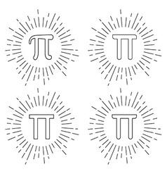 Mathematic Pi icon flat set vector image