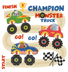 monster trucks with animals on race track vector image