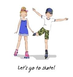 Roller skater Skating girl boy Cartoon couple vector image vector image