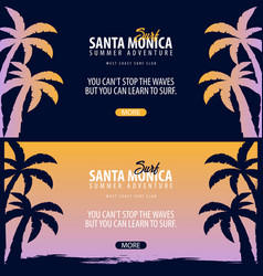 Santa monica surfing graphic with palms surf club vector