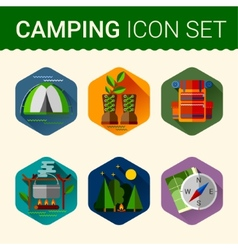 set of cute various camping icons vector image vector image