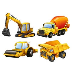 Tractors and bulldozers in yellow vector image vector image