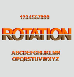 3d rotation font design for typography vector
