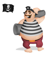 a pirate standing with cannons vector image