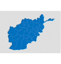 afghanistan map - high detailed blue map with vector image
