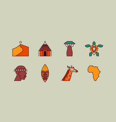 africa culture travel icon flat outline cartoon vector image
