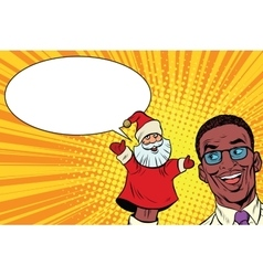 African businessman with hand puppet Santa Claus vector