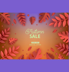 autumn sale template autumn leaves vector image