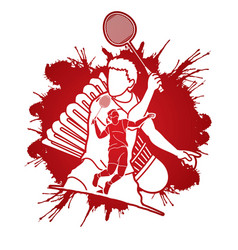 Badminton players cartoon sport graphic vector